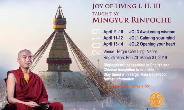 JOL Meditation Workshop – Essence Teaching with Venerable Yongey Mingyur Rinpoche 2019